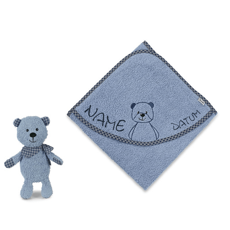Sterntaler - Kaputzenhandtücher - Bär blue